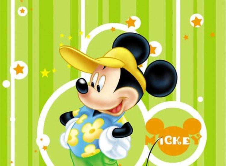 Детски фототапети-Фототапет Мики Маус на зелен фон
