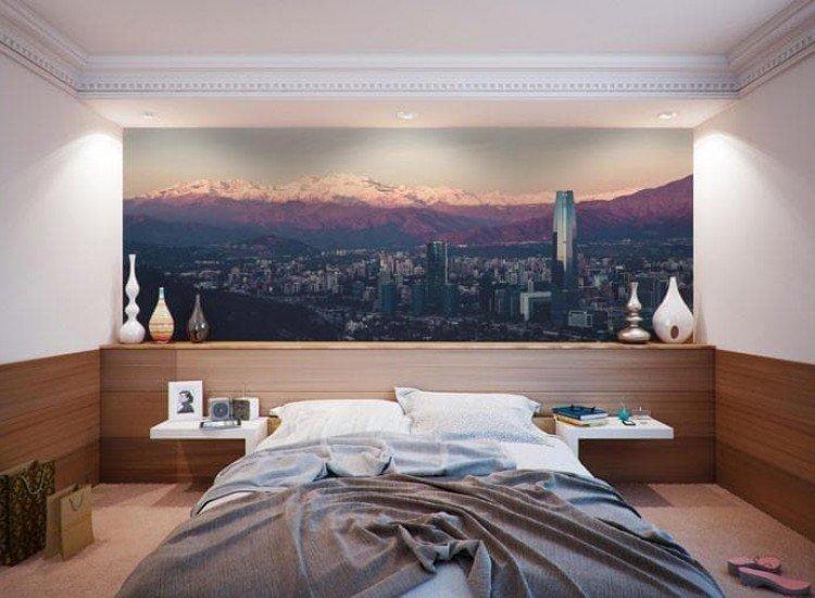 Градски пейзажи-Фототапет Залез над Сантяго