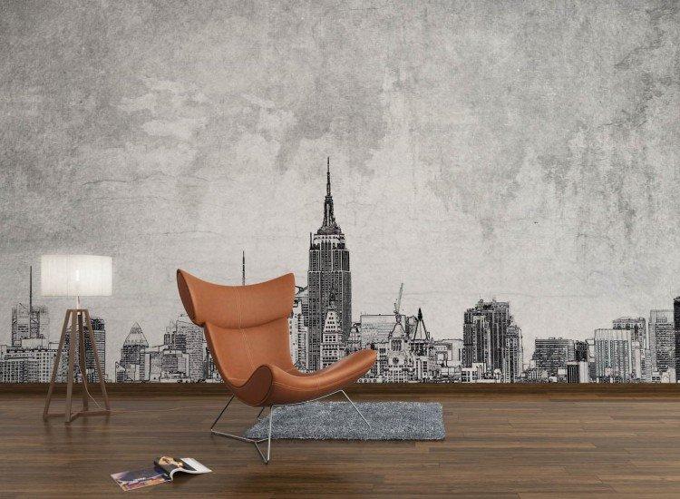 Градски пейзажи-Фототапет Рисунка на Ню Йорк