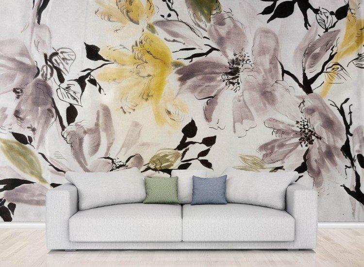 Цветя-Фототапет Рисунка на цветя върху плат