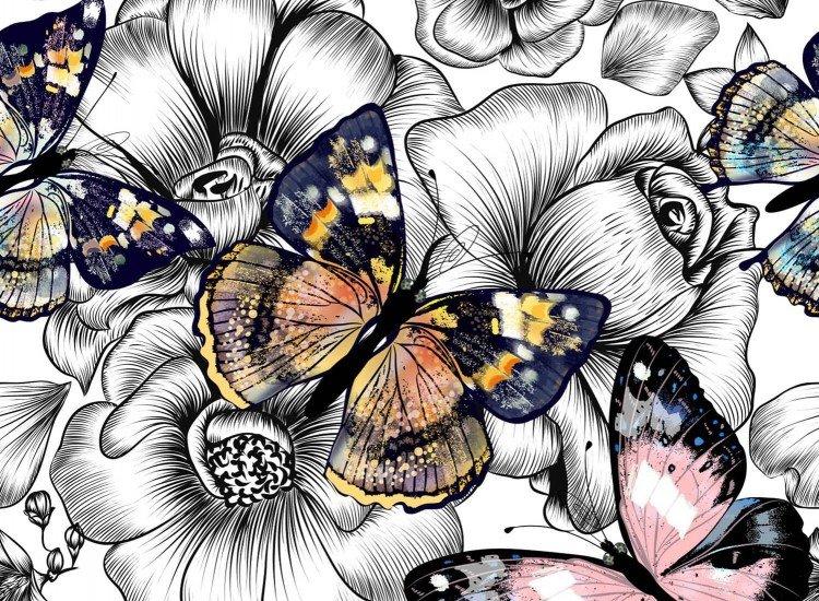 Цветя-Фототапет Пеперуди