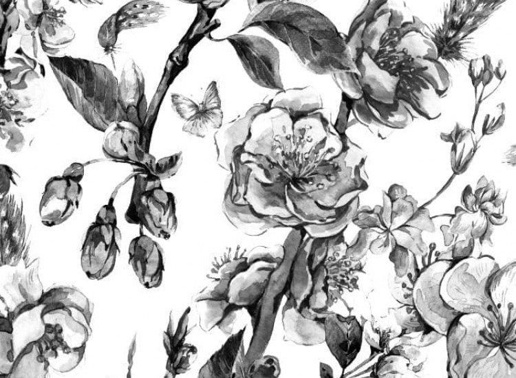 SALE-Фототапет Черно-бели цветя