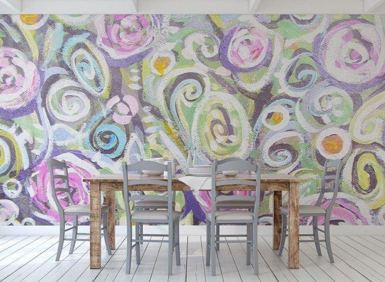 Цветя-Фототапет Рисувани цветя