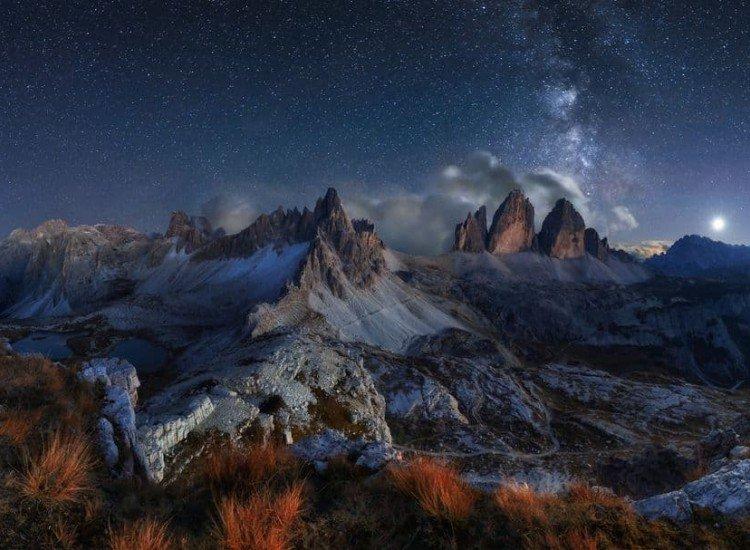 Пейзажи и природа-Фототапет Нощен пейзаж към Тре Чиме ди Лаваредо