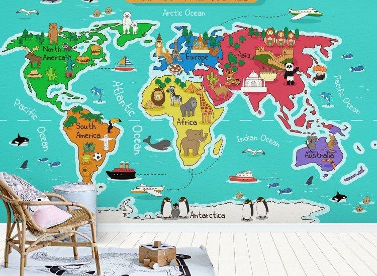 Фототапет Детска карта на света - Фототапети БГ