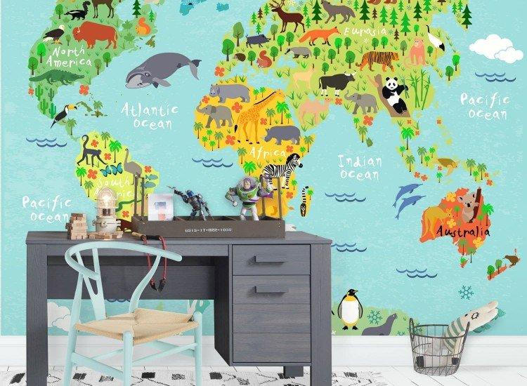 Детски фототапети-Фототапет Детска карта на света