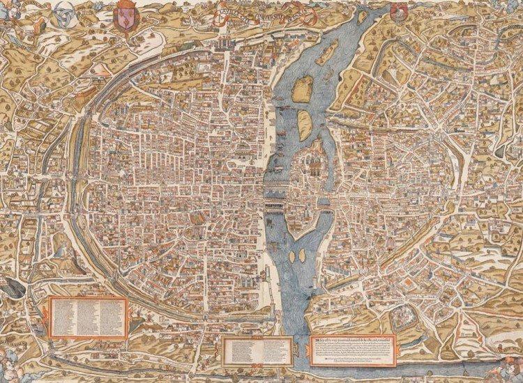 Карти-Фототапет Древна карта на Париж