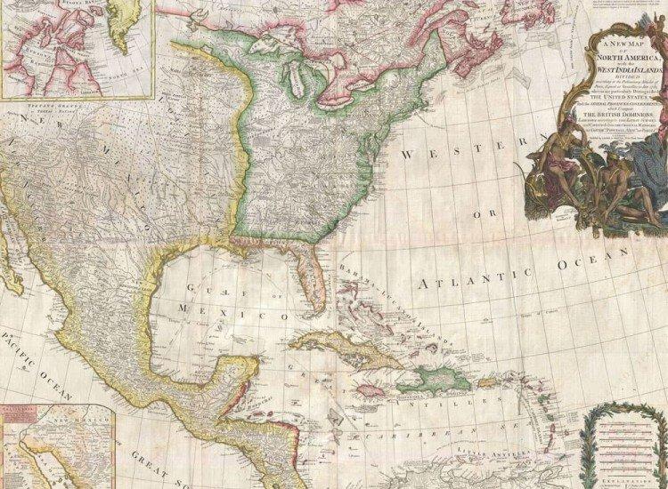 Карти-Фототапет Карта на Северна Америка