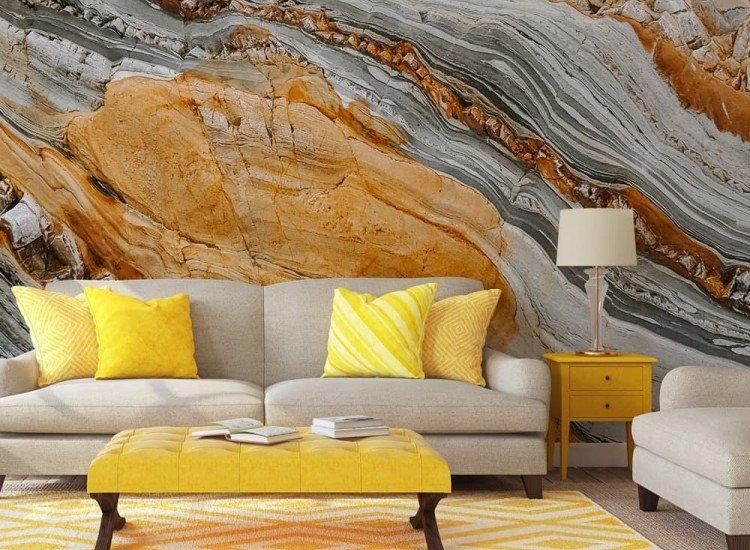 Текстури-Фототапет Гранит в сиво и оранжево