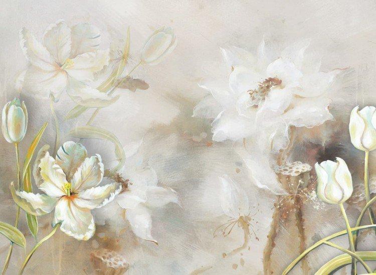 Цветя-Фототапет Илюстрация на бели цветя
