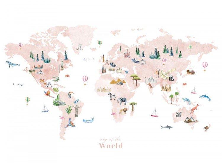 Детски фототапети-Фототапет Розова карта на света
