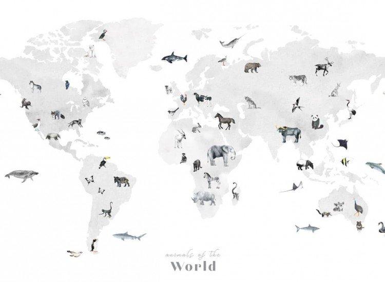 Детски фототапети-Фототапет Kарта на света с животни
