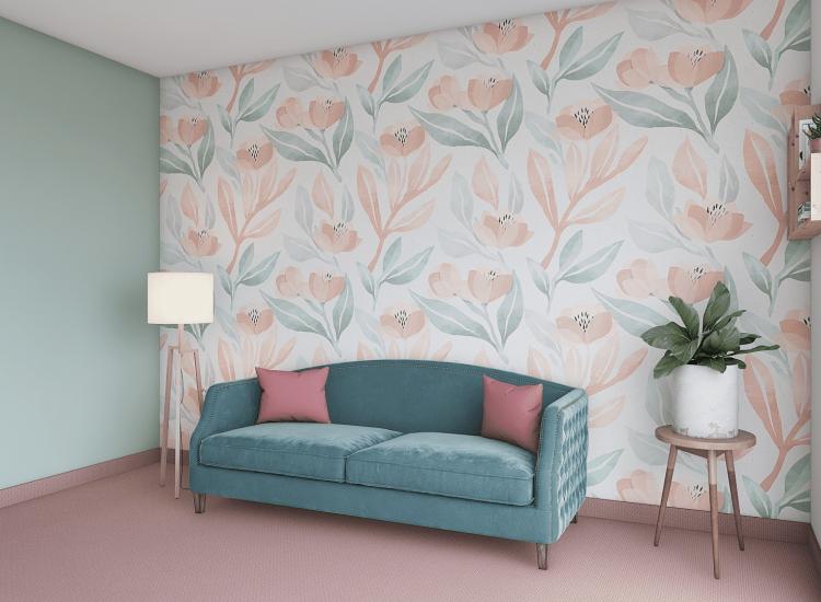 Цветя-Фототапет Цветя върху хартиена текстура