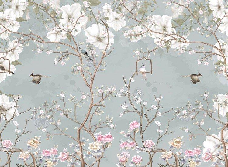 Цветя-Фототапет Клони, цветя и птици