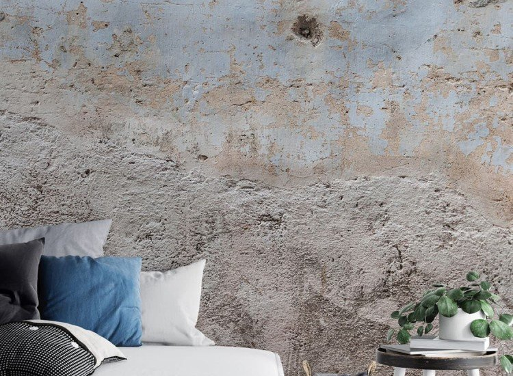 Фототапет Гръндж синя стена
