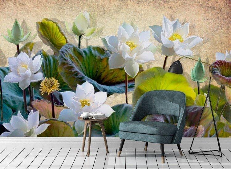 Фототапет 3d цветя лотос