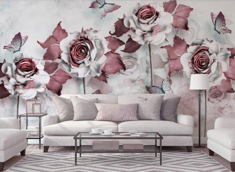 Фототапет 3D цветя и пеперуди - Фототапети БГ