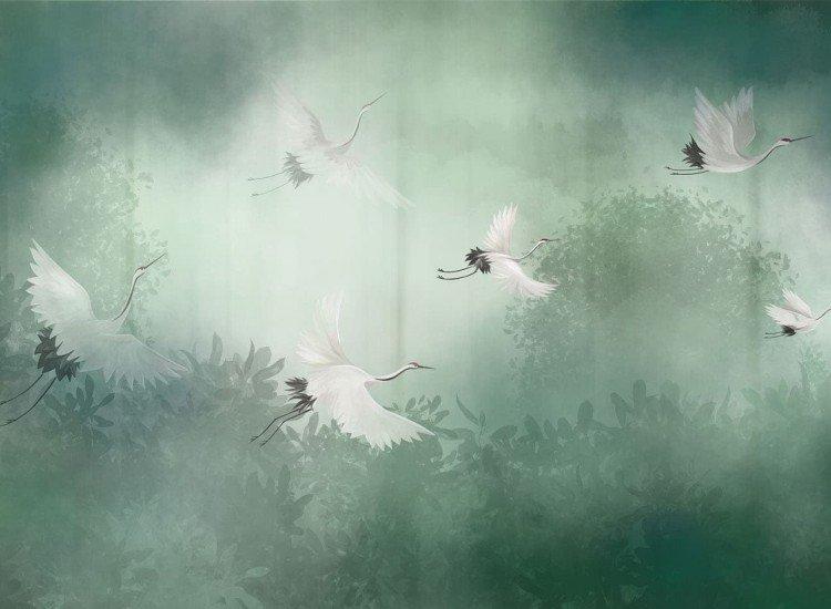 Абстрактни фототапети-Фототапет Полет на щъркели в мъглива гора