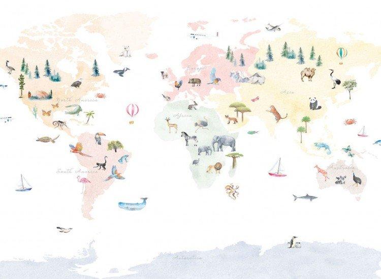 Детски фототапети-Фототапет Цветна карта на света