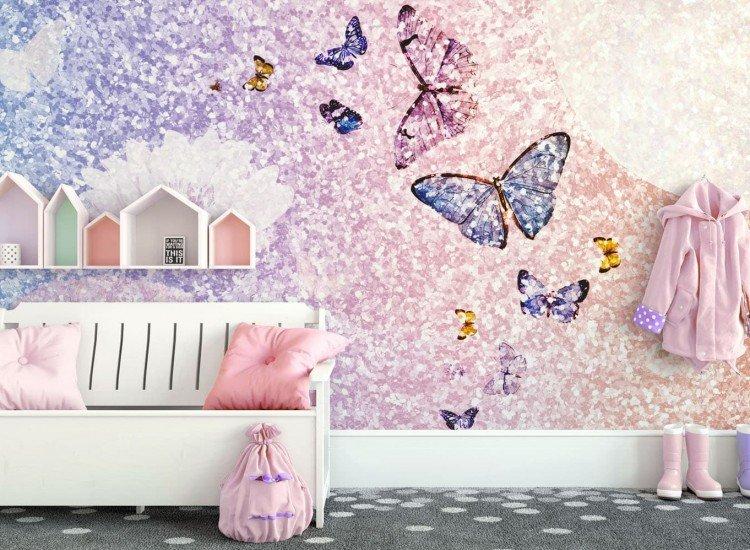 Детски фототапети-Фототапет Блестящ фон с пеперуди