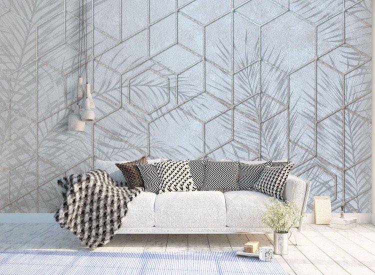 Фототапет Студена абстракция с тропически листа