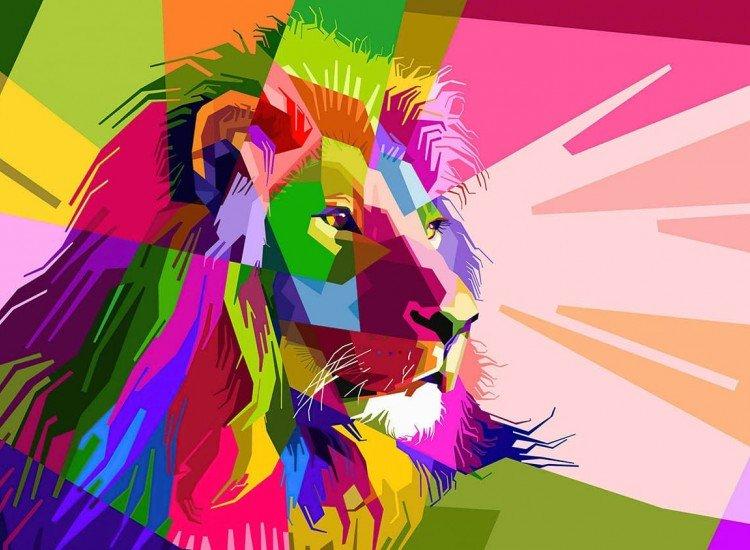 Модерни графики-Фототапет Цветен лъв