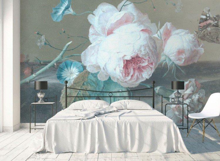 Цветя-Фототапет Rose et papillon