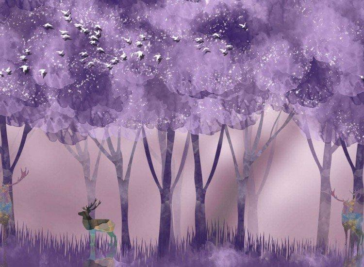 Детски фототапети-Фототапет Аrboles abstractos Purple