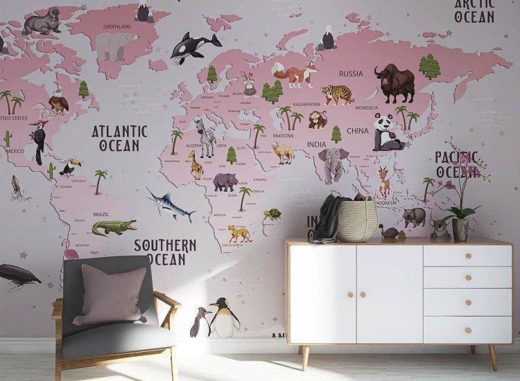 Детски фототапети-Фототапет Розова карта с животни