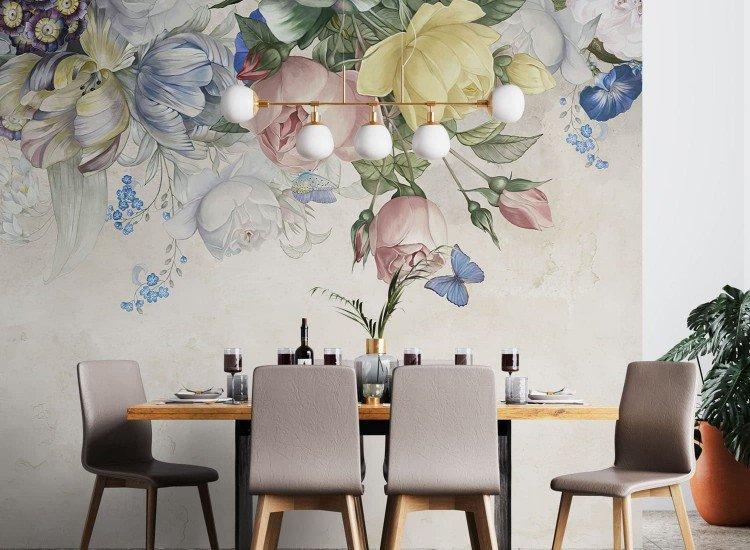Цветя-Фототапет Нежни Цветя върху напукана стена
