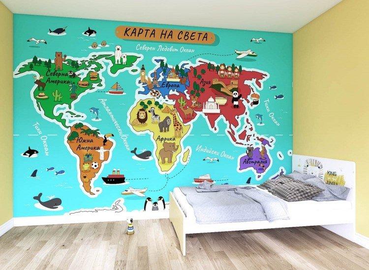 Детски фототапети-Фототапет Детка карта на света (български език)