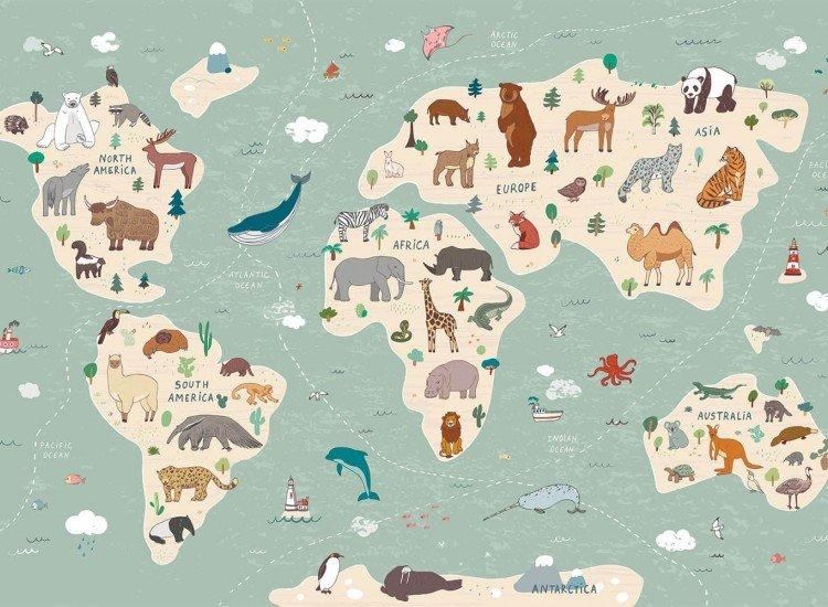Детски фототапети-Фототапет Детска карта на света (английски език)