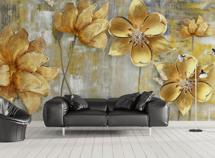 Фототапет Златни цветя