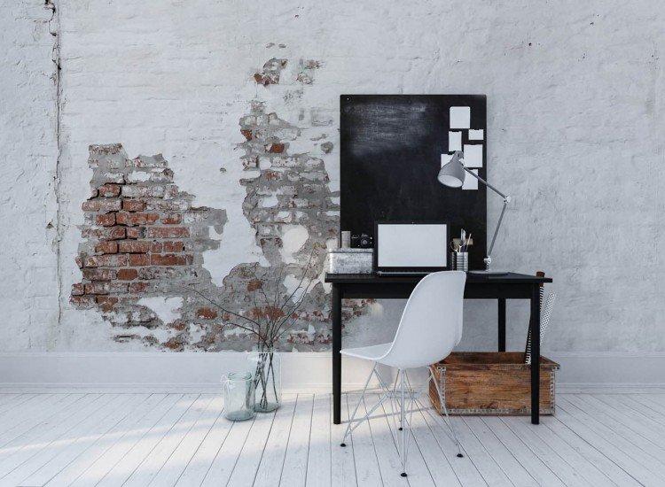 Текстури-Фототапет Гръндж бели тухли