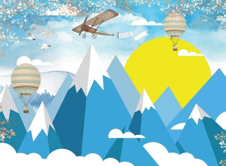 Детски фототапети-Фототапет Aeronave - blue