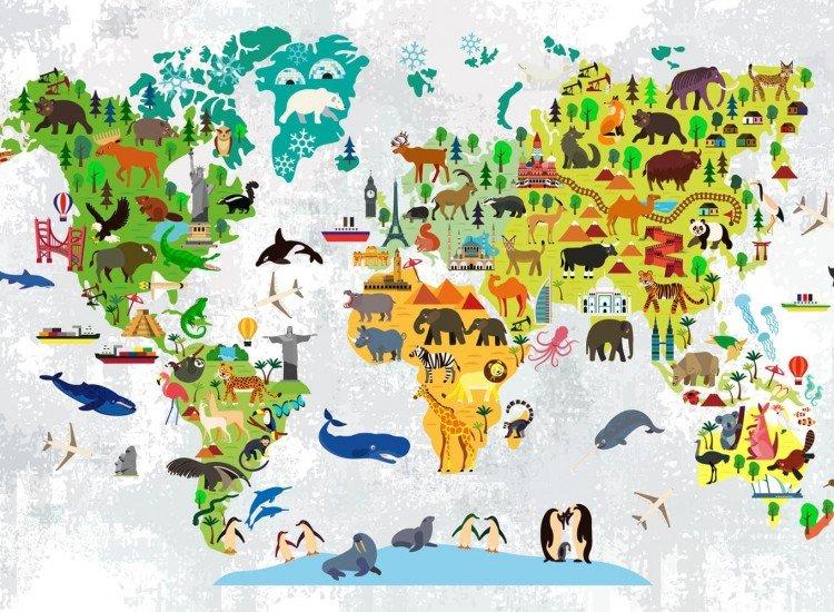 Детски фототапети-Фототапет Детска карта с животни