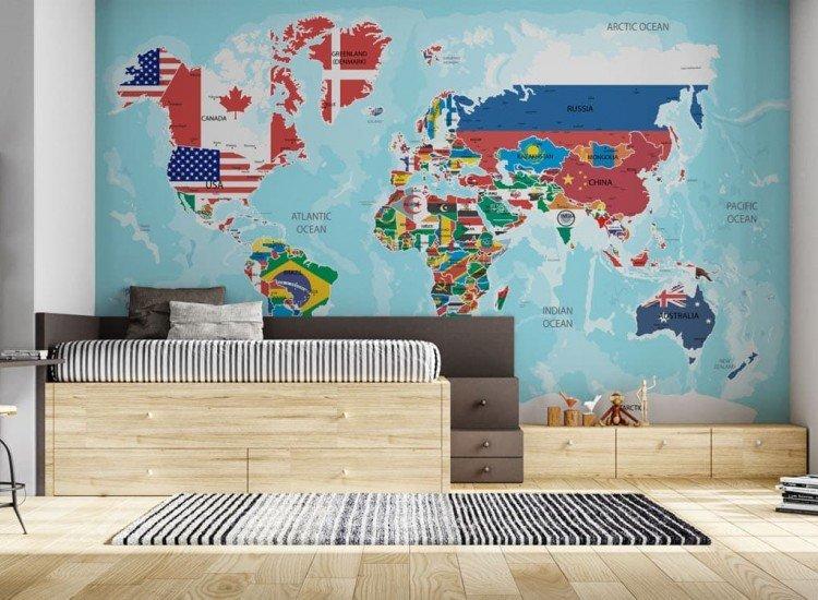 Детски фототапети-Фототапет Карта на света с флагове