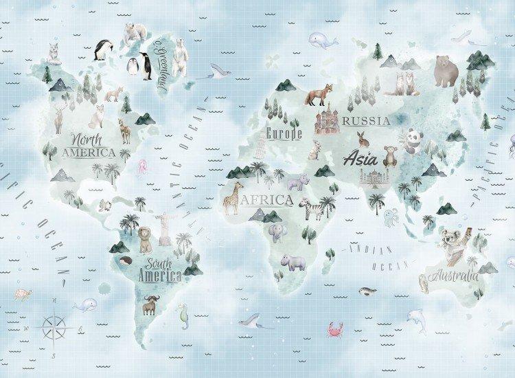 Детски фототапети-Фототапет Детска водна карта на света