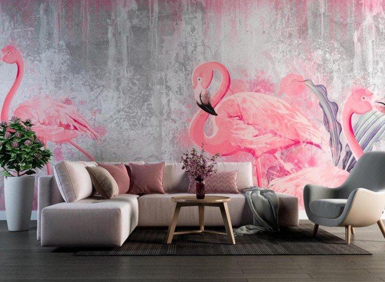 Фототапет Три фламинго