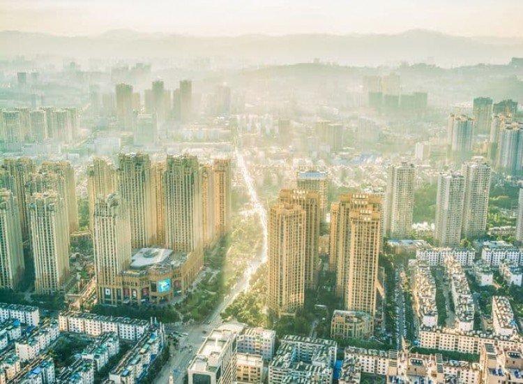 Градски пейзажи-Фототапет Светъл градски пейзаж