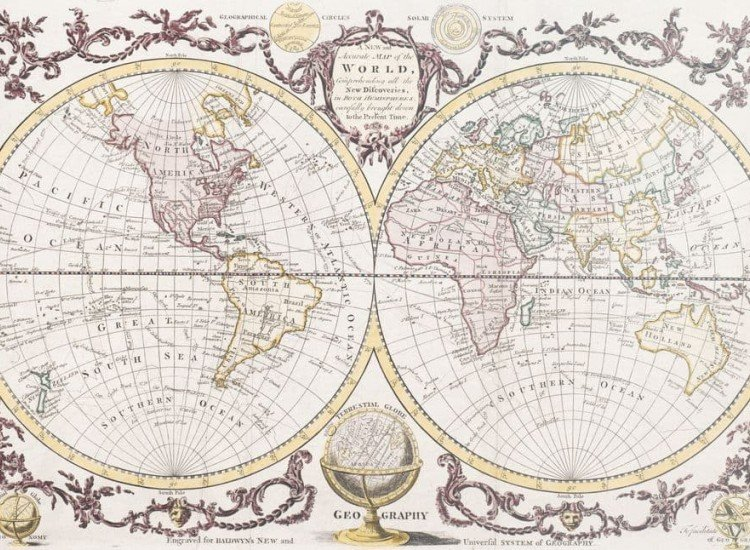 Карти-Фототапет Винтидж Карта