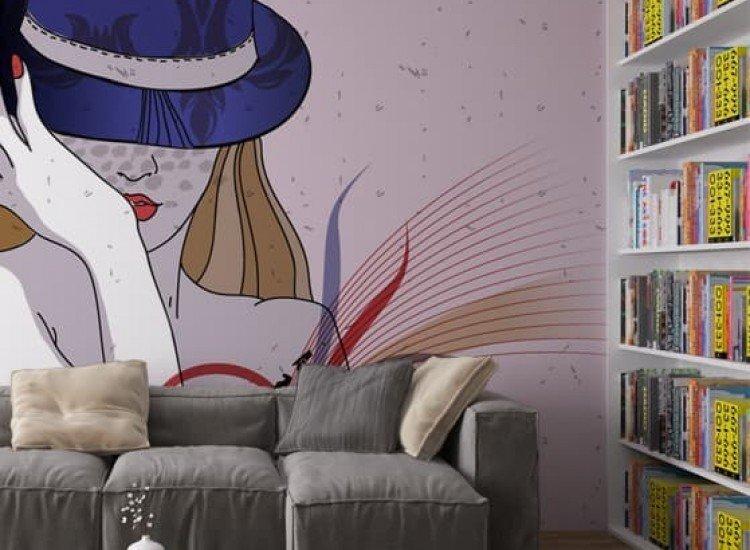 Изкуство и музика-Фототапет Жена с шапка