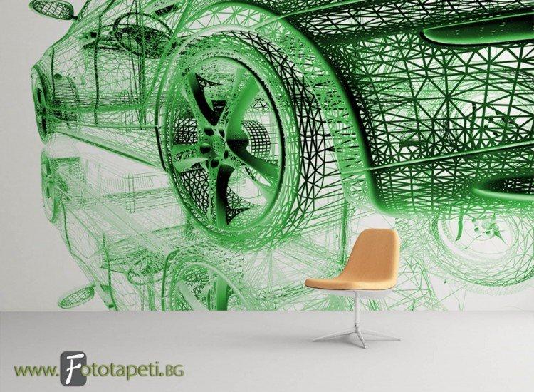 Автомобили и транспорт-Фототапет Скица на кола