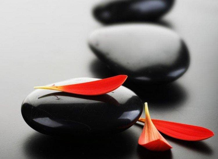 Зен фототапети-Фототапет Листа и черни камъни