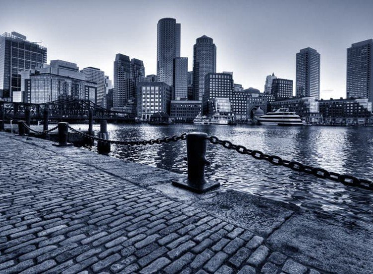 Градски пейзажи-Фототапет Край брега на града