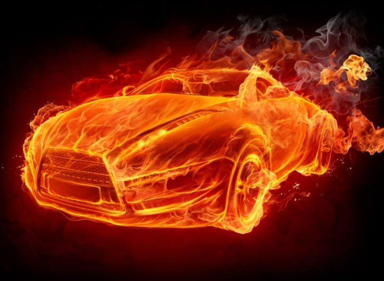 Автомобили и транспорт-Фототапет Горяща Кола