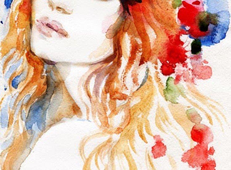 Изкуство и музика-Фототапет Рисунка на Жена