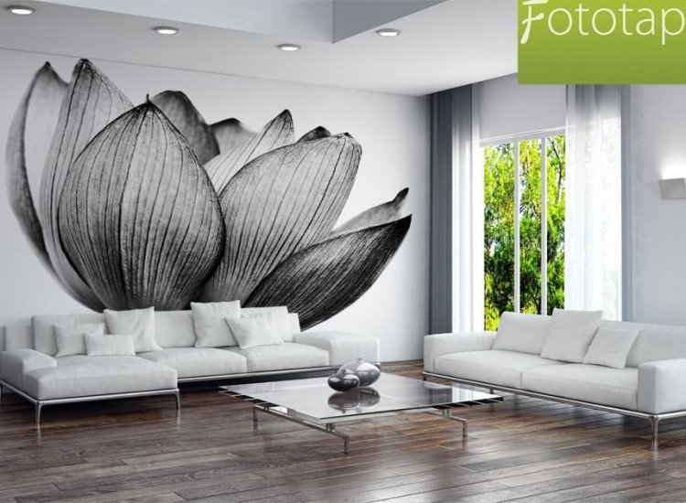 Цветя-Фототапет Черно-бял лотос