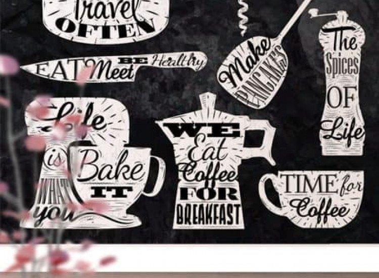 Думи и цитати-Фототапет Надписи за кухня с тебешир