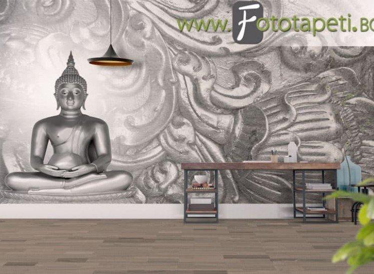 Зен фототапети-Фототапет Буда на сребърен фон